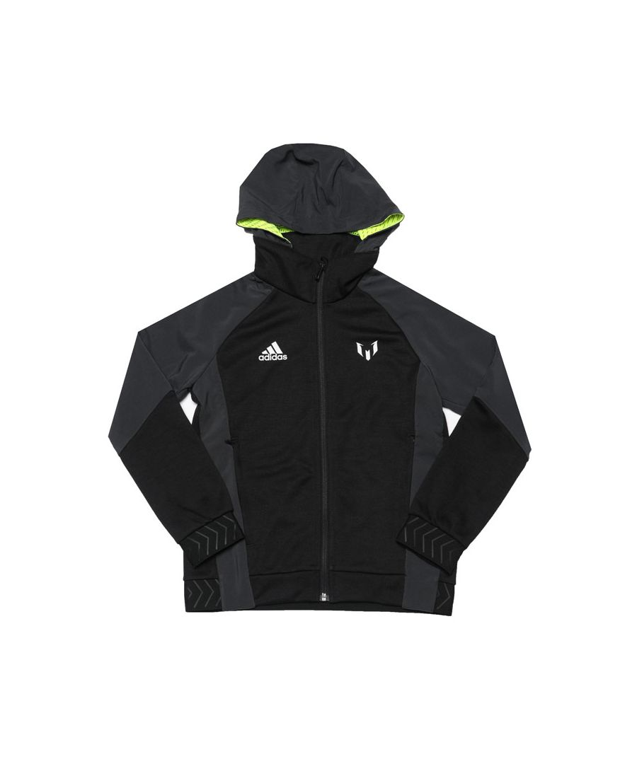Image for Boy's adidas Junior Zip Hoody in Black yellow