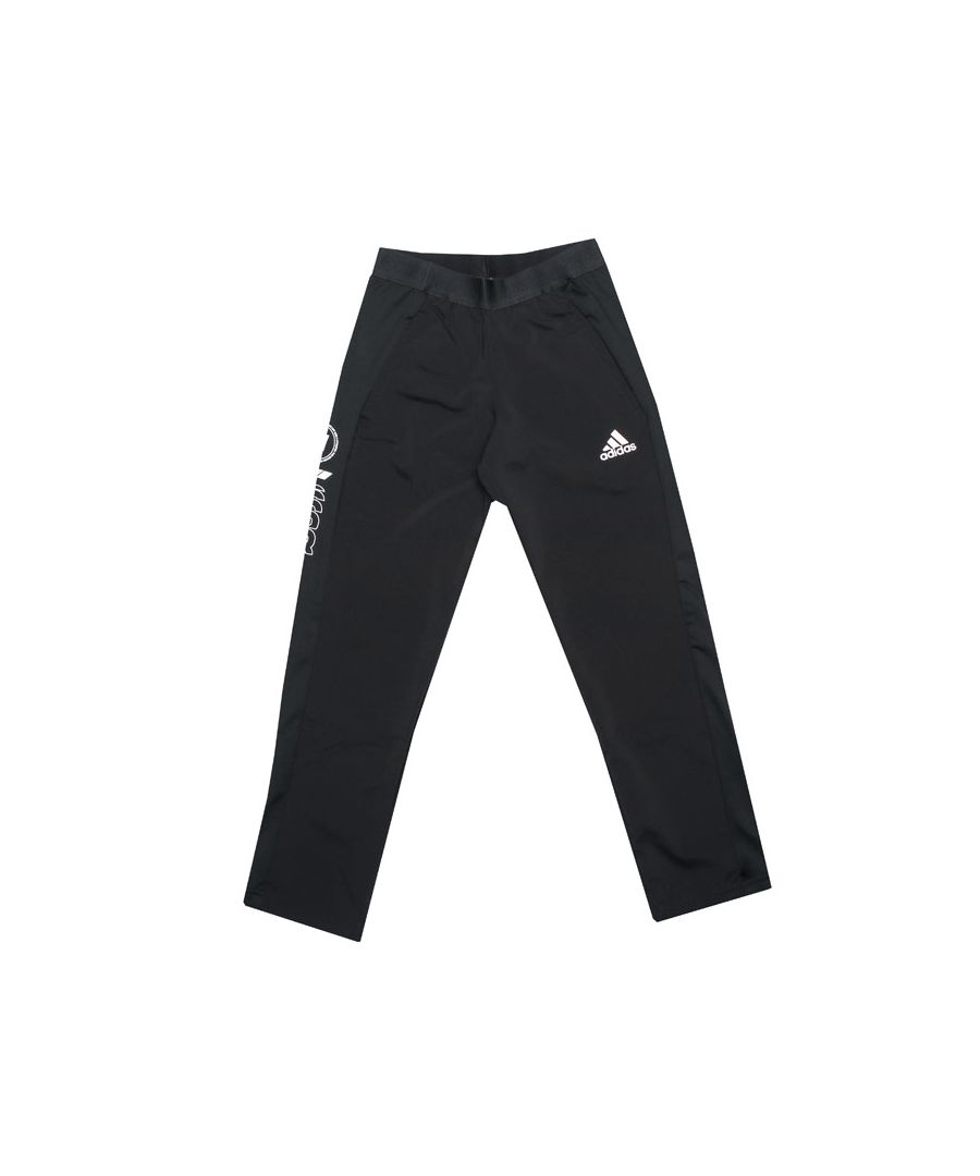 Image for Boy's adidas Junior Slim Woven Pants in Black-White