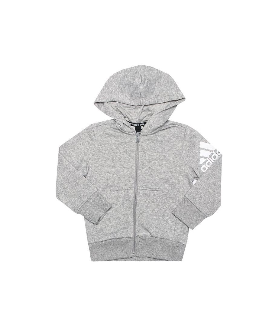 Image for Boy's adidas Junior Must Haves Zip Hoody in Grey