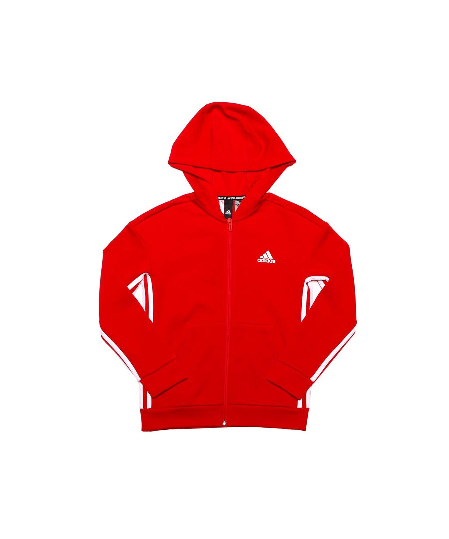 Image for Boy's adidas Junior Must Haves 3-Stripes Zip Hoody in Red