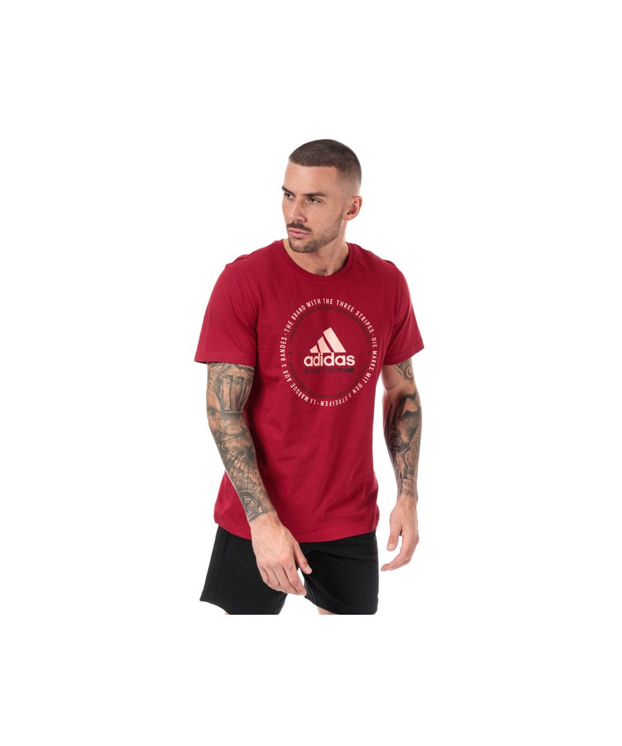 Image for Men's adidas Must Haves Emblem T-Shirt in Burgundy
