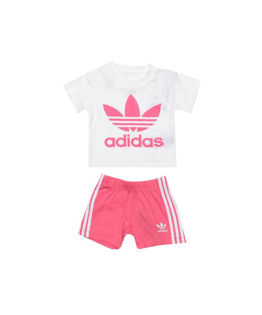Image for Girl's adidas Originals Infant Short & T-Shirt Set in White pink