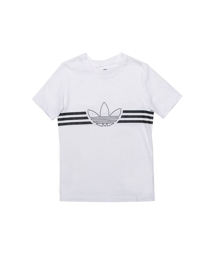 Image for Boy's adidas Originals Junior Outline T-Shirt in White Black