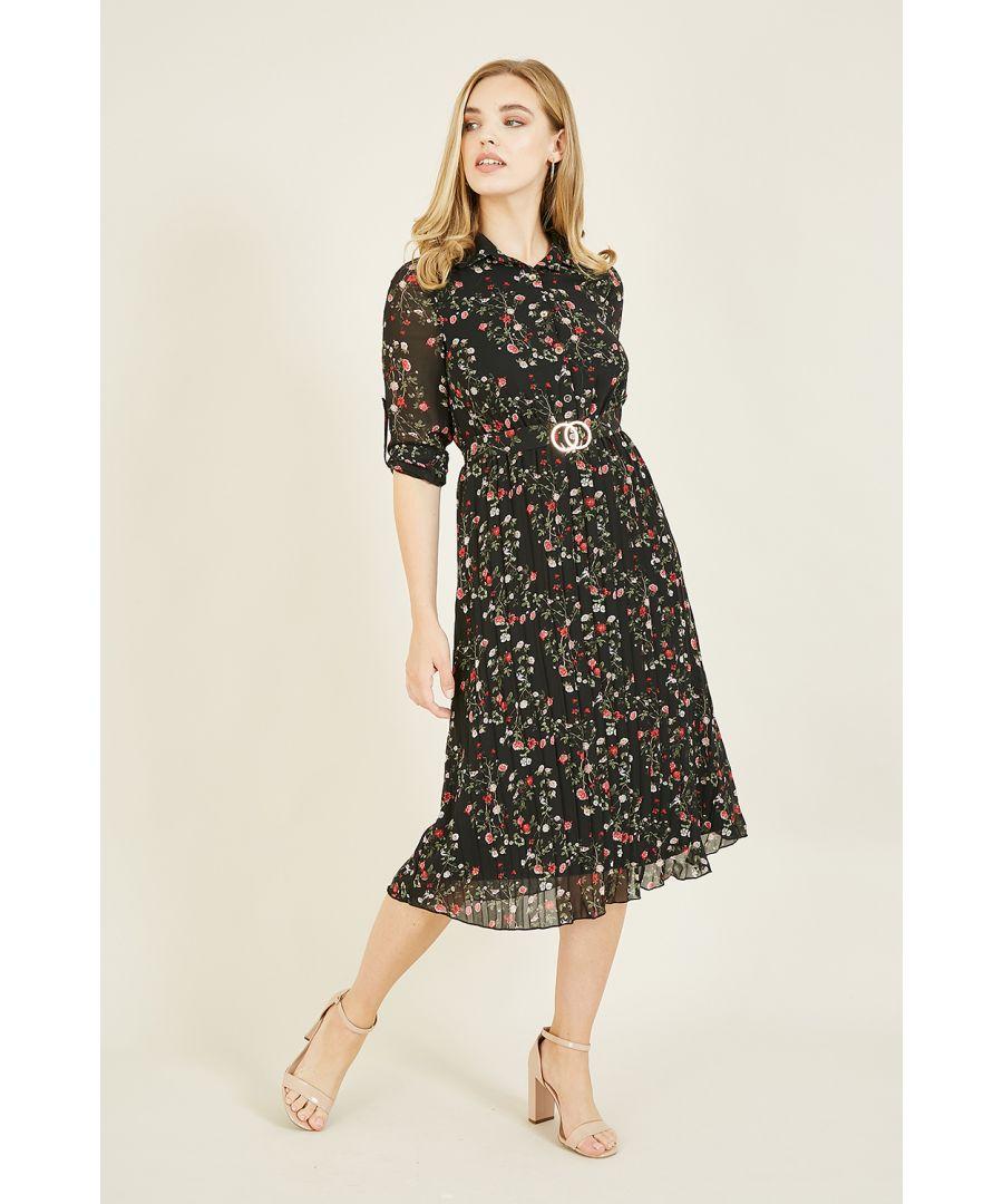 Image for Mela Black Ditsy Floral Pleated Skirt Dress
