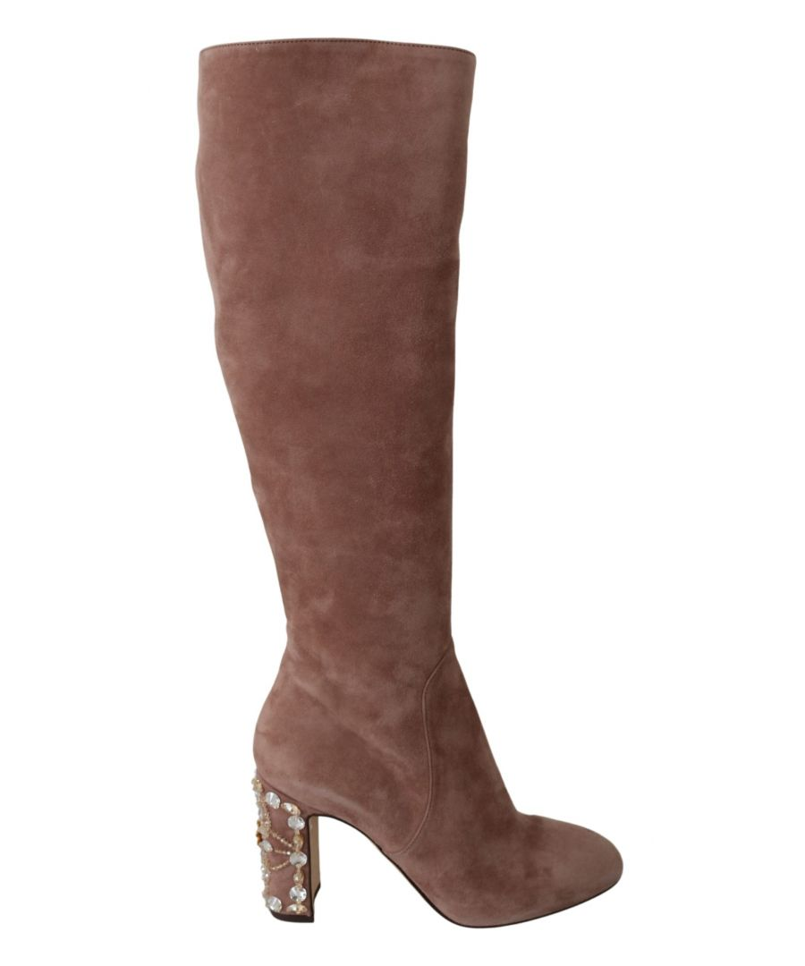 Image for Dolce & Gabbana Beige Suede Leather Crystal Boots