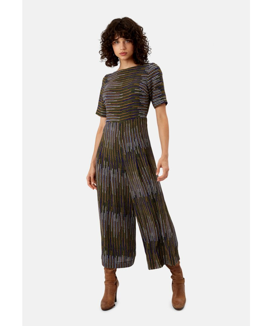 Image for Bianca Pinstriped Jumpsuit in Mustard and Blue