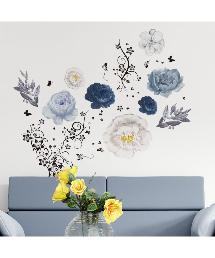 Image for Butterfly Vine With Oversized Flowers Self Adhesive DIY Wall Sticker, Living room wall sticker