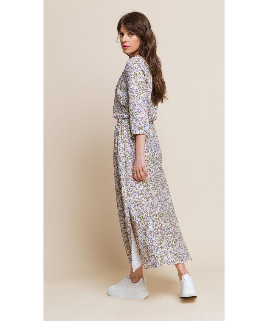 Image for Nancy Floral Beige Dress