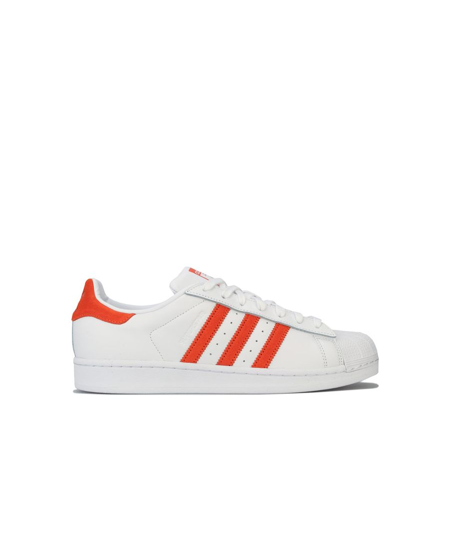 Image for Men's adidas Originals Superstar Trainers in white orange