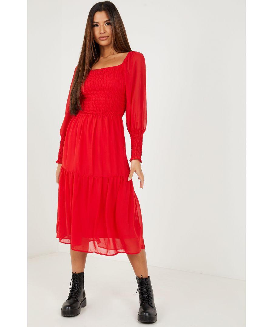 Image for Red Chiffon Shirred Tiered Midi Dress