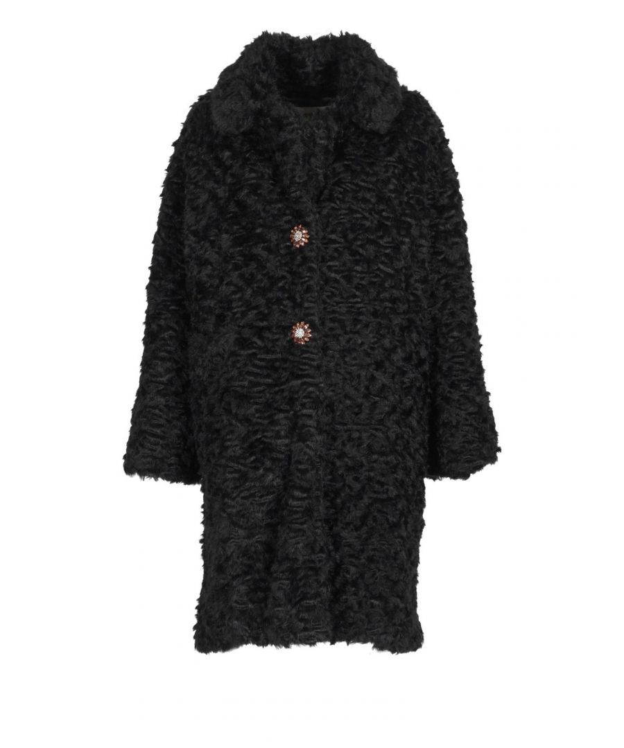 Image for PINK MEMORIES WOMEN'S 1079002 BLACK POLYESTER COAT