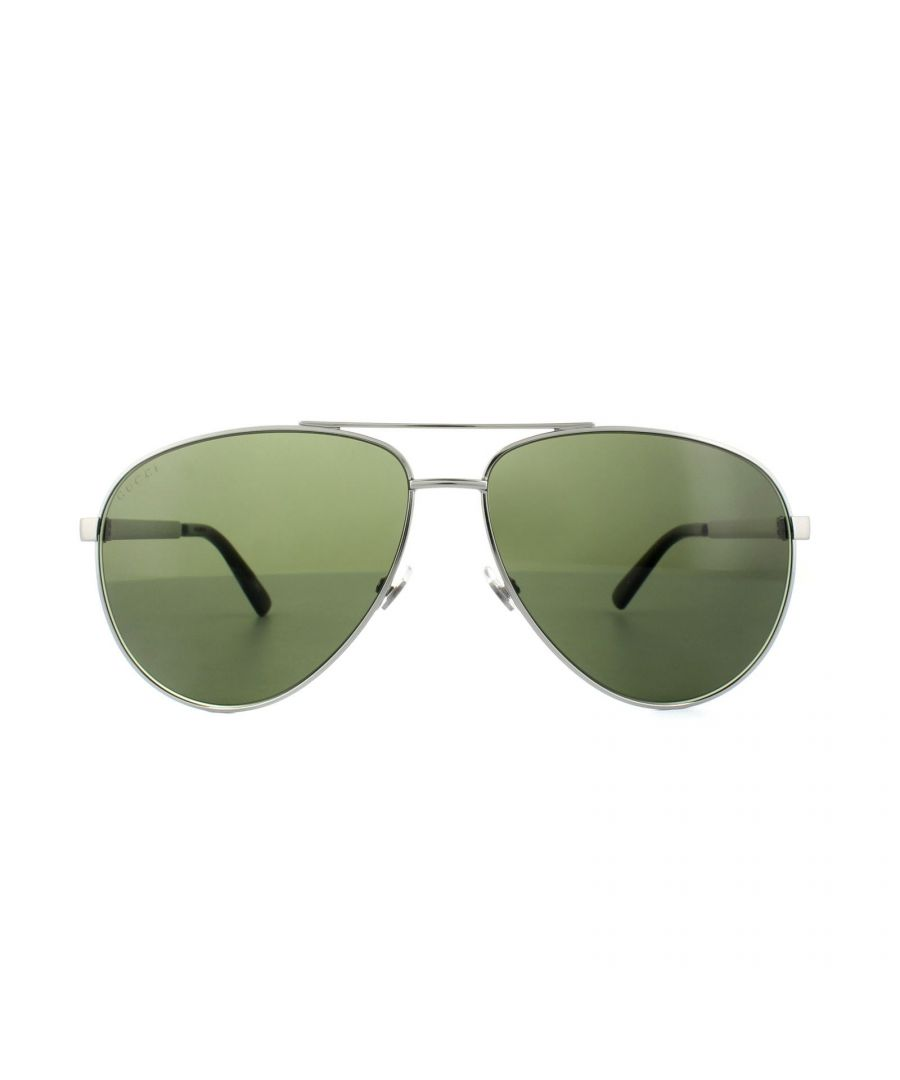 Image for Gucci Sunglasses 0137S 003 Ruthenium Green