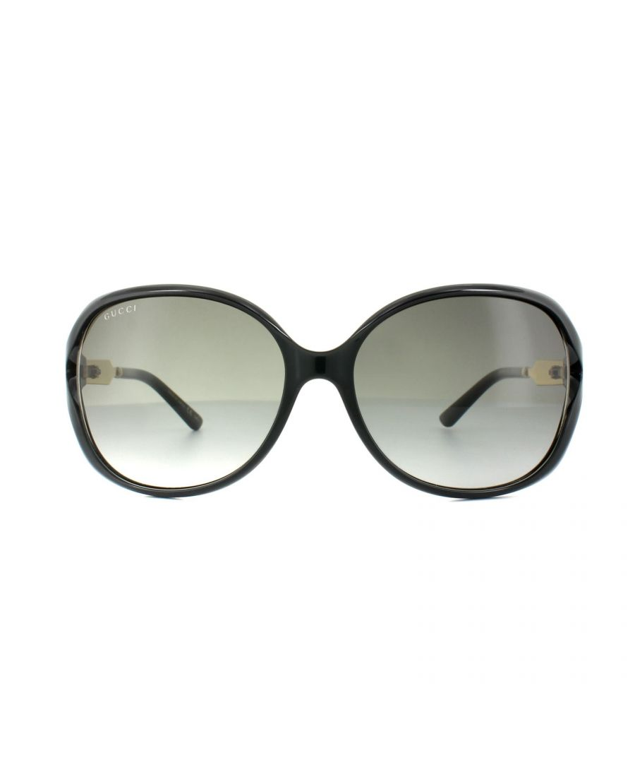 Image for Gucci Sunglasses 0076S 002 Black Gold Grey Gradient