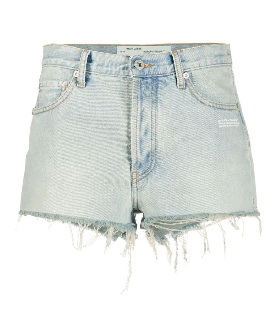 Image for OFF-WHITE WOMEN'S OWYC002R207730687100 LIGHT BLUE COTTON SHORTS
