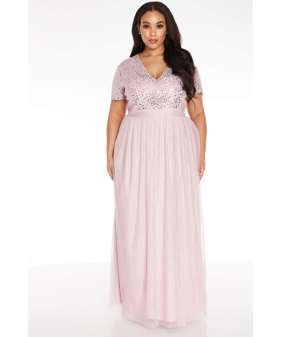 Image for Curve Pink Sequin Maxi Dress