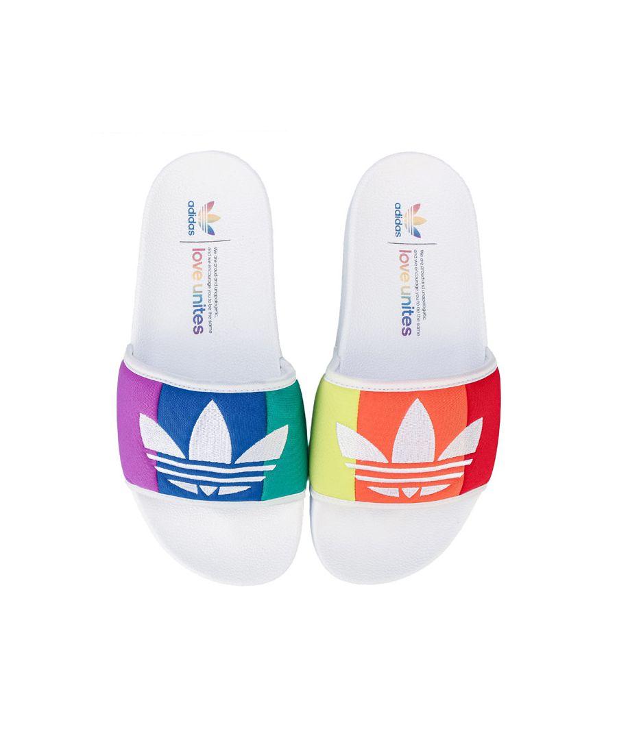 Image for Men's adidas Originals Adilette Pride Slide Sandals in White