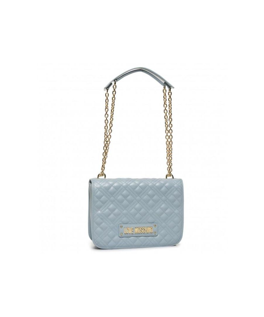 Image for Love Moschino Large Quilted Crossbody with LOVE MOSCHINO Strap in Blue