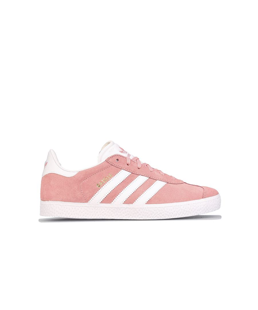 Image for Girl's adidas Originals Junior Gazelle Trainers Pink white UK 3in Pink white