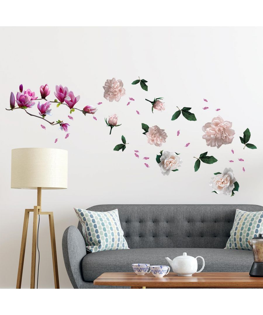 Image for Large Magnolia With Roses self Adhesive DIY Wall Sticker, Living room wall sticker