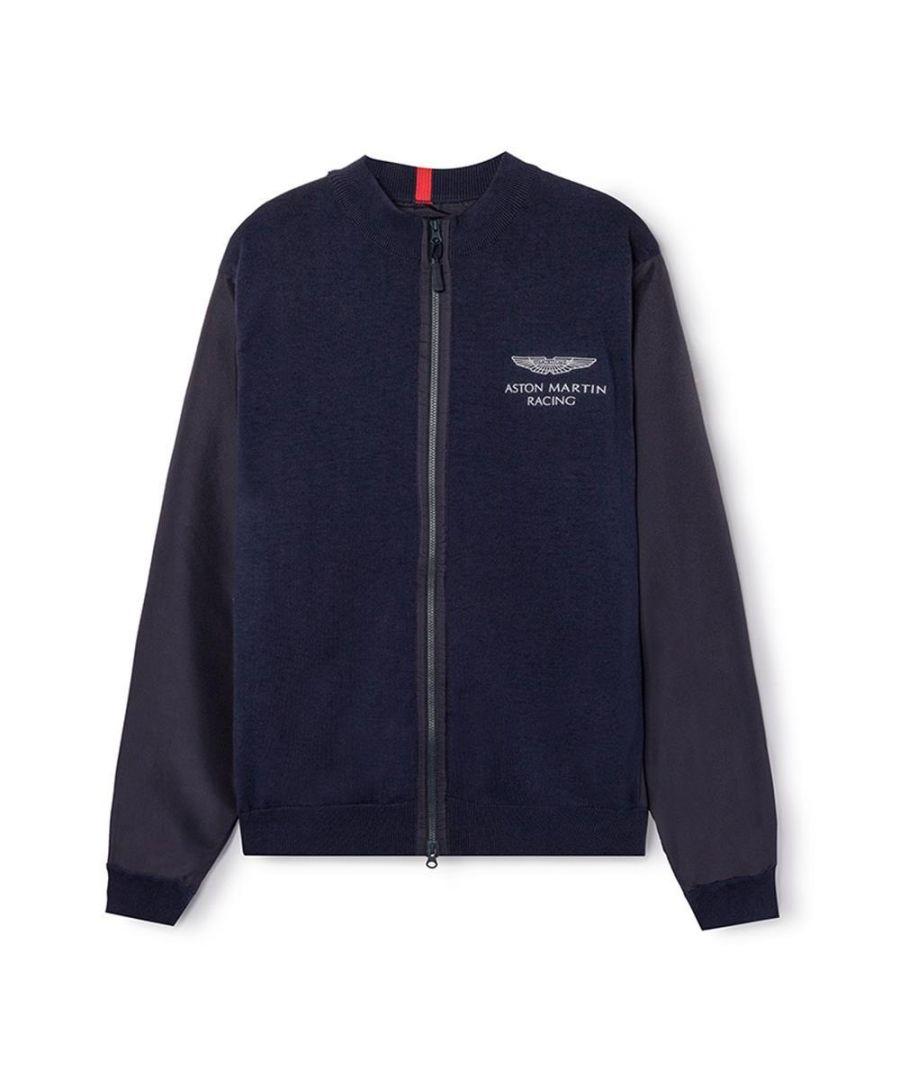 Image for Men's Hackett, Aston Martin Racing Nylon Mesh Sweater in Navy
