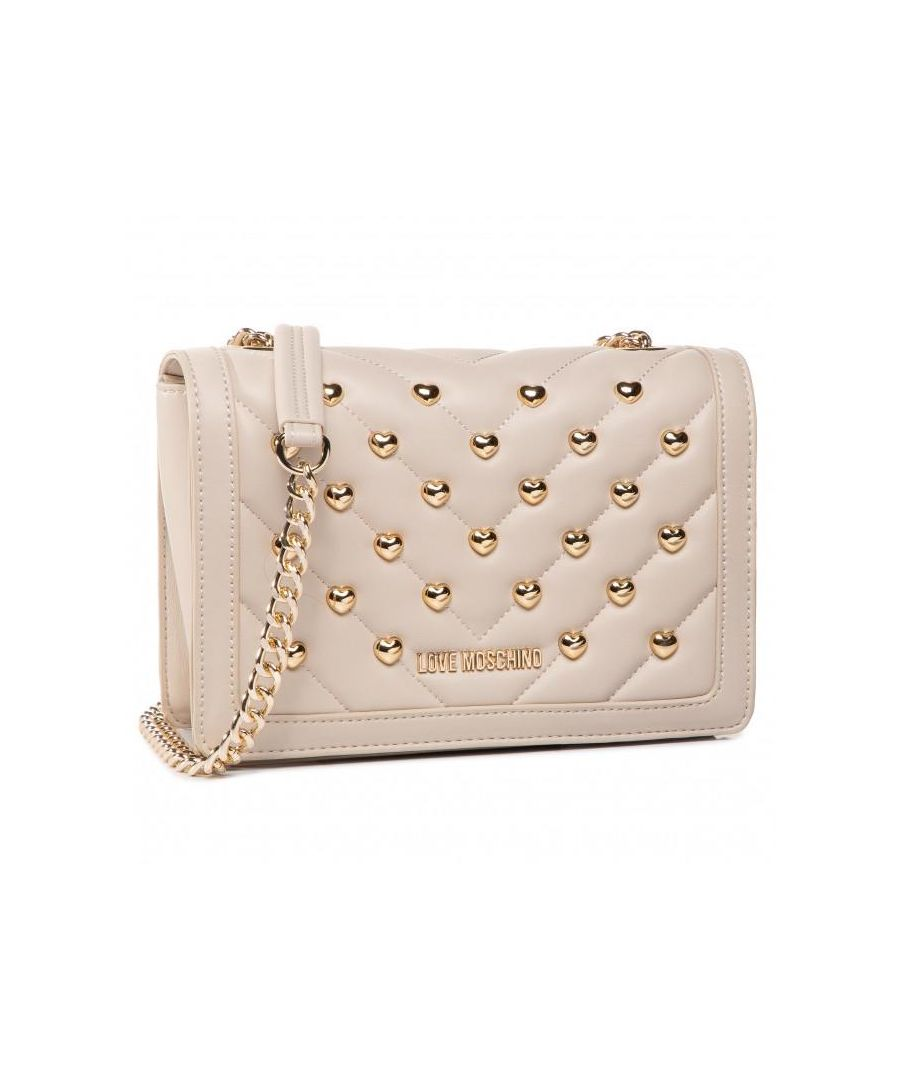 Image for Love Moschino Studded Gold Chain Crossbody Bag in Beige