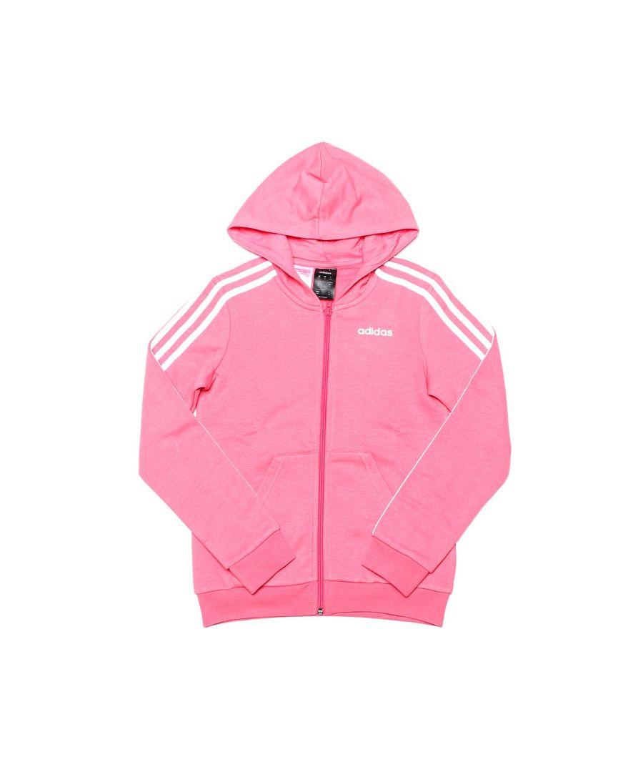Image for Girl's adidas Junior 3-Stripes Zip Hoody in Pink
