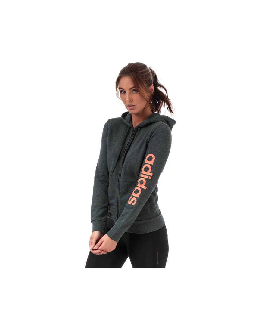 Image for Women's adidas Essentials Linear Zip Hoody in Charcoal Marl