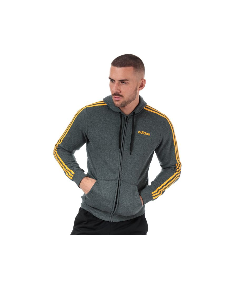 Image for Men's adidas Essentials 3-Stripes Full ZIp Hoody in Charcoal