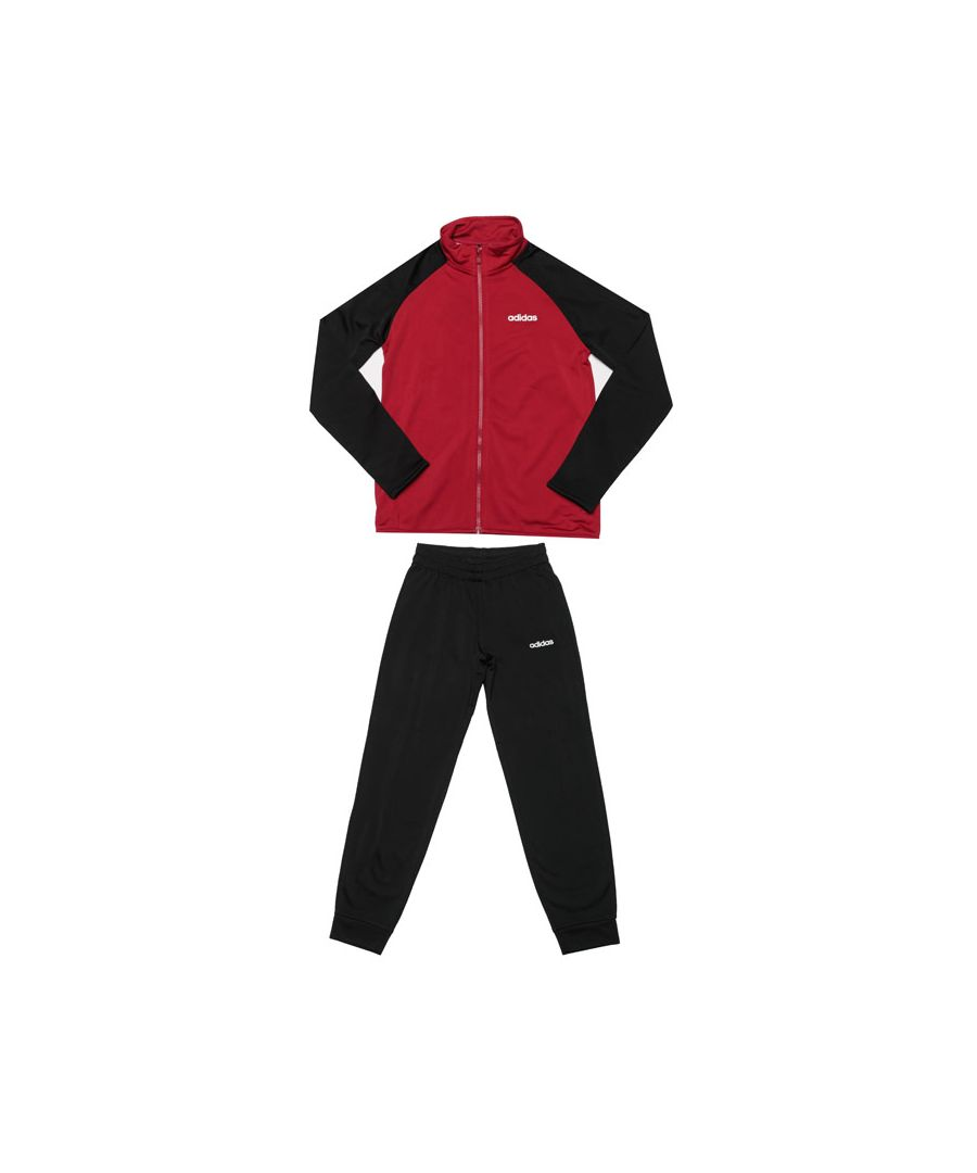 Image for Boy's adidas Junior Entry Tracksuit in Black Red