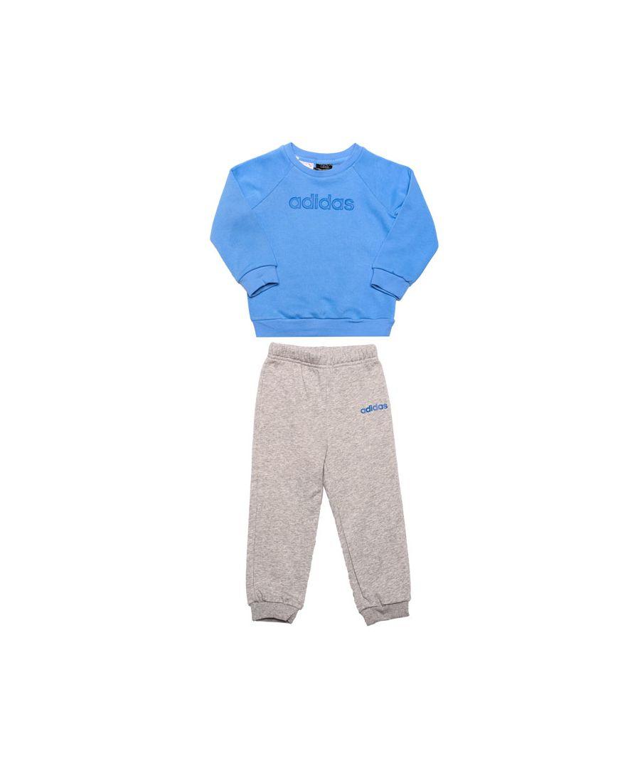 Image for Boy's adidas Infant Linear Fleece Jogger Set in Blue