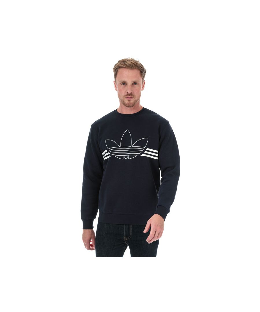 Image for Men's adidas Originals Outline Crew Neck Sweatshirt in Navy
