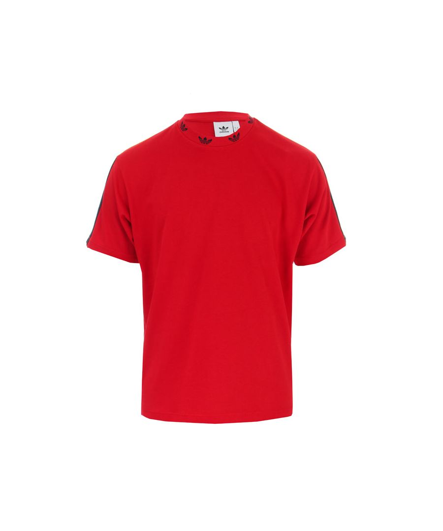 Image for Men's adidas Originals Trefoil Ribbed T-Shirt in Red