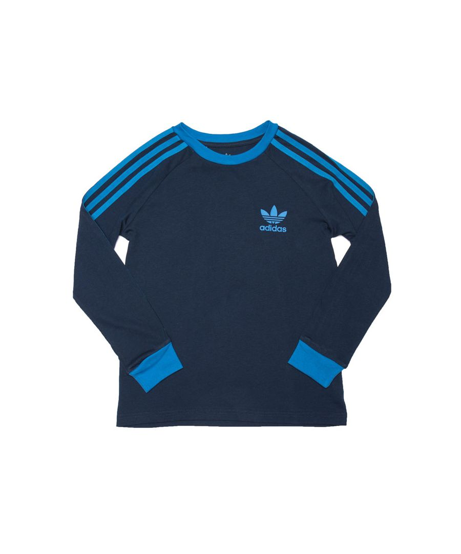 Image for Boy's adidas Originals Junior 3-Stripes Long Sleeve T-Shirt in Navy