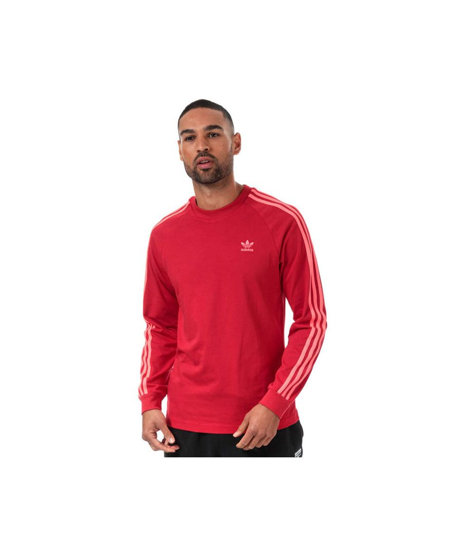 Image for Men's adidas Originals 3 Stripe Long Sleeve T-Shirt in Red