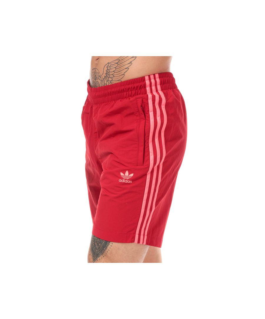 Image for Men's adidas Originals 3-Stripes Swim Shorts in Red