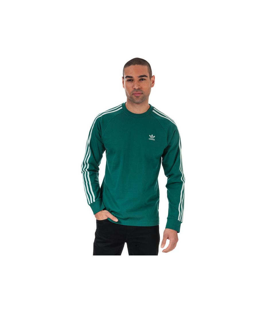 Image for Men's adidas Originals 3-Stripes Long Sleeve T-Shirt in Green