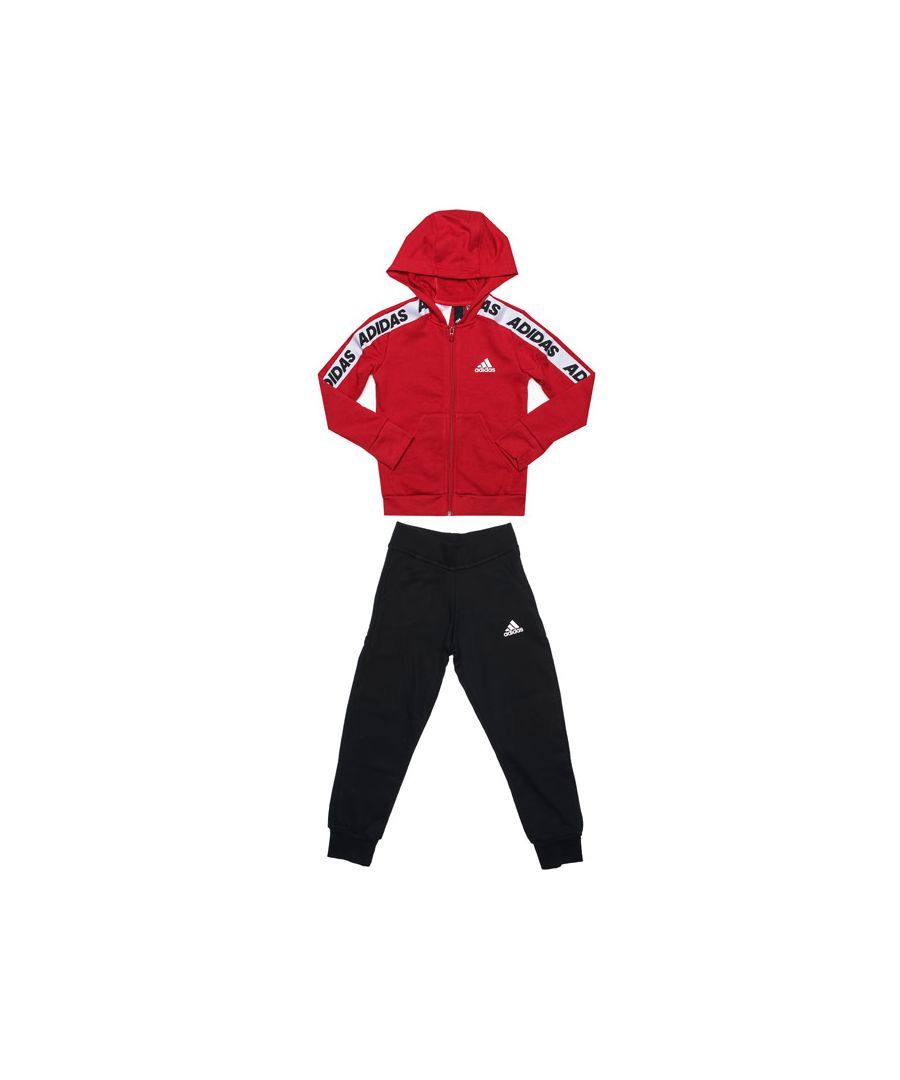 Image for Girl's adidas Junior Cotton Tracksuit in Red