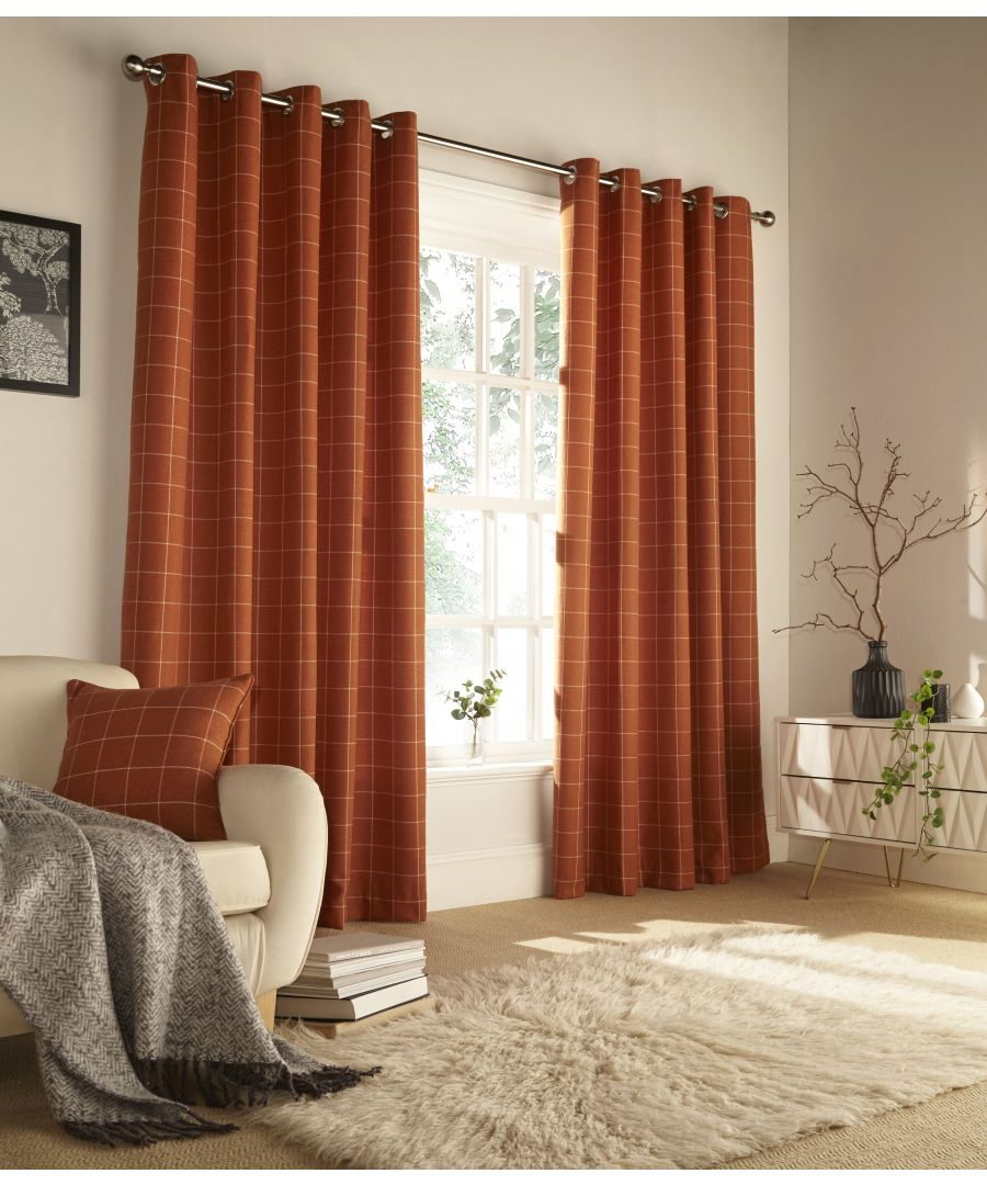 Image for Ellis Windowpane Check Eyelet Curtains in Burnt Orange