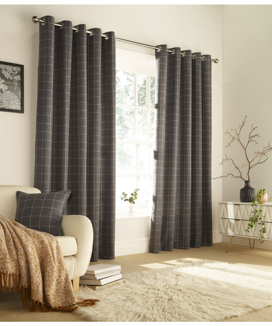 Image for Ellis Windowpane Check Eyelet Curtains in Grey