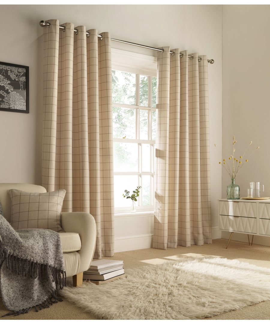 Image for Ellis Windowpane Check Eyelet Curtains in Natural
