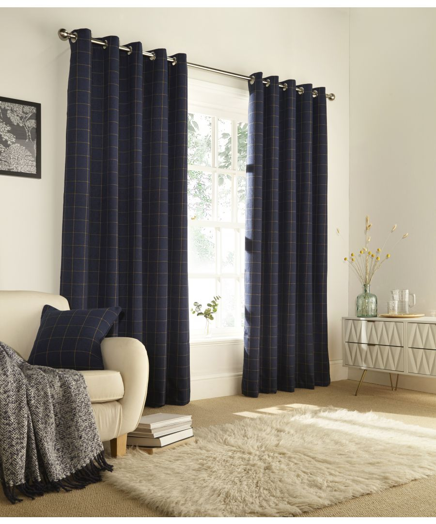 Image for Ellis Windowpane Check Eyelet Curtains in Navy