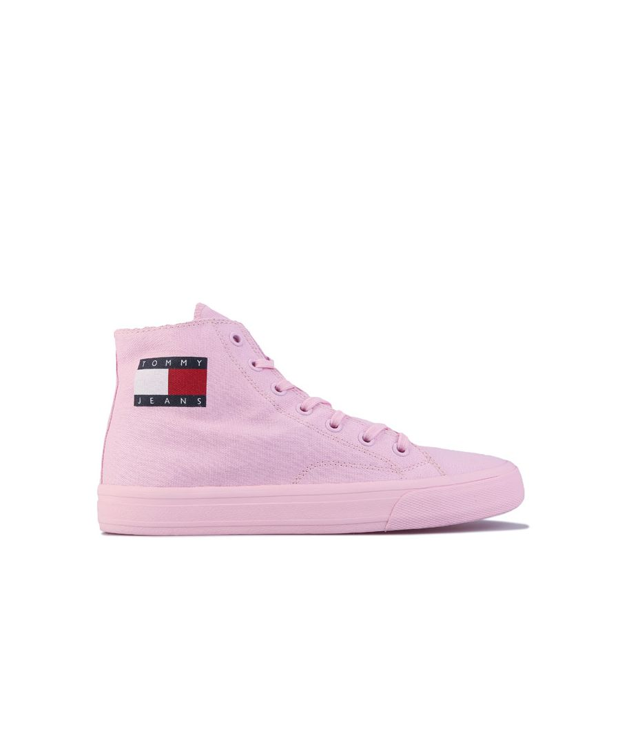 Image for Women's Tommy Hilfiger Cotton High-Top Trainers in Pink