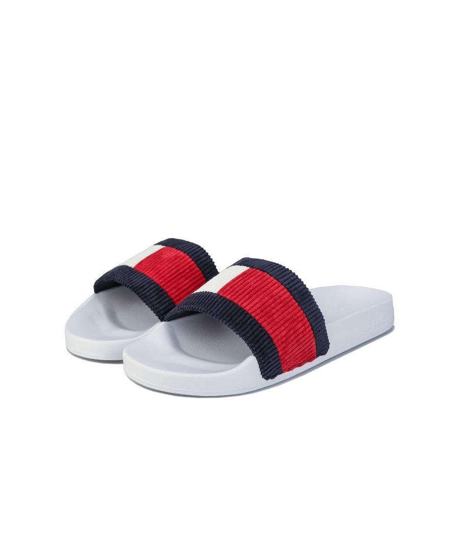 Image for Women's Tommy Hilfiger Colour-Blocked Corduroy Slde Sandals in White