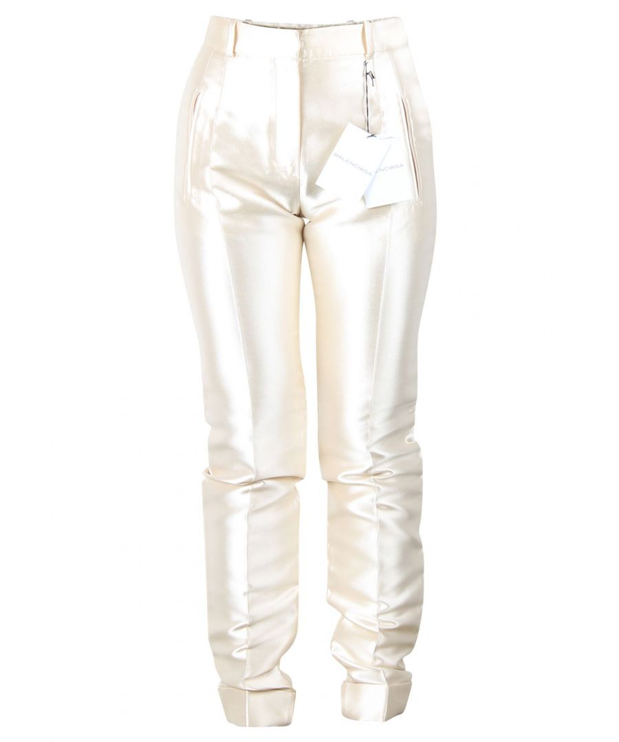 Image for Balenciaga Champagne Silk Fitted Pants