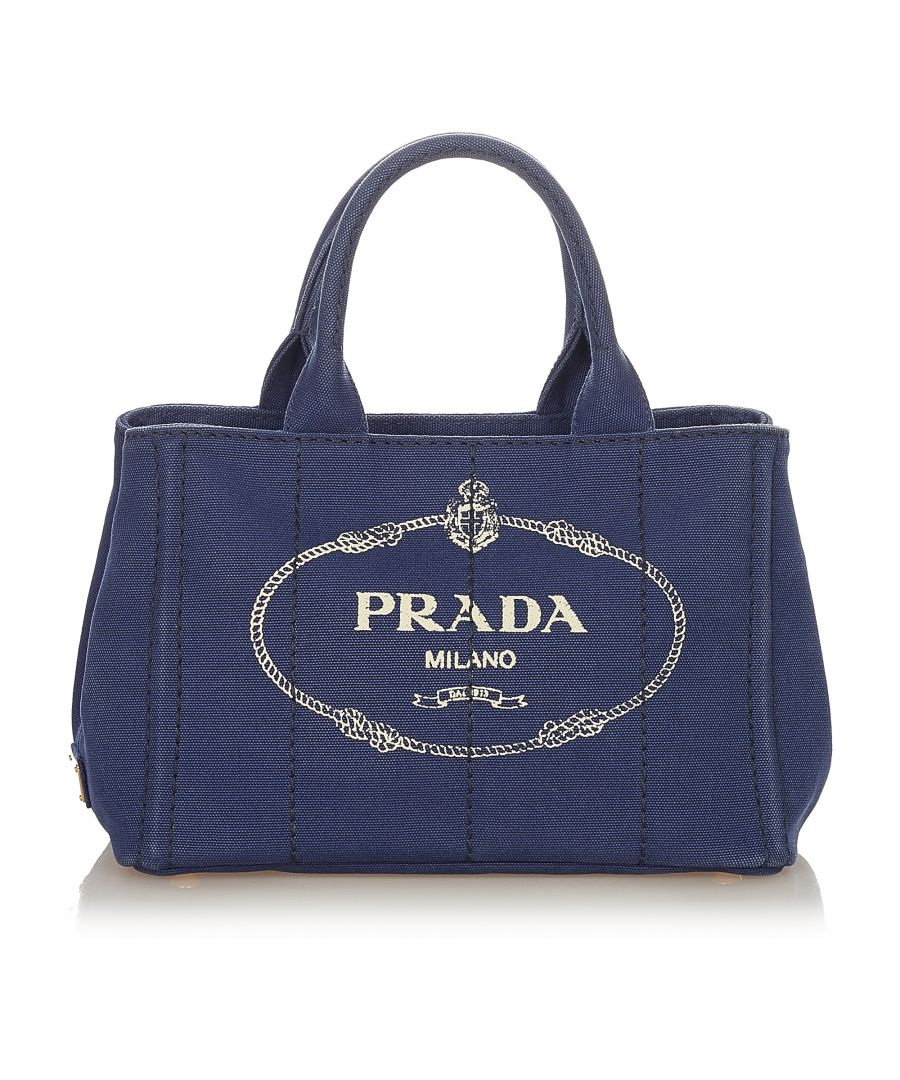 Image for Vintage Prada Canapa Logo Canvas Handbag Blue