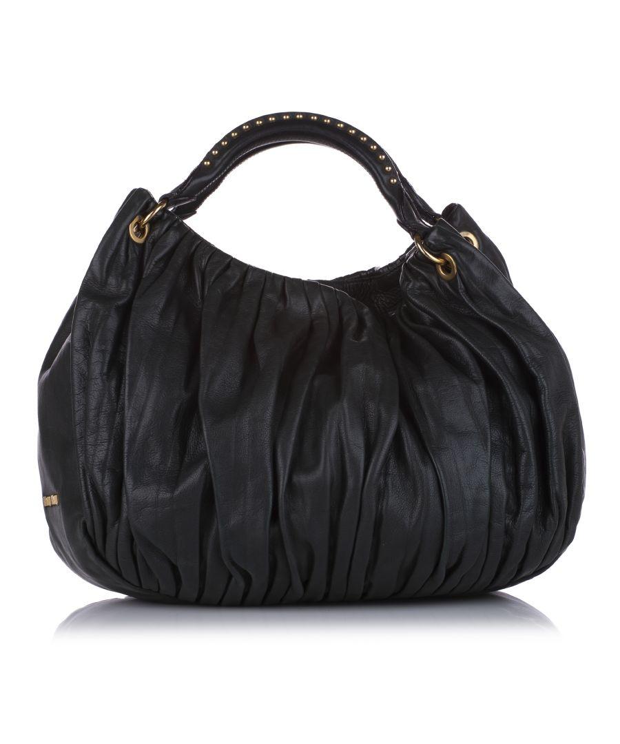 Image for Vintage Miu Miu Leather Shoulder Bag Black