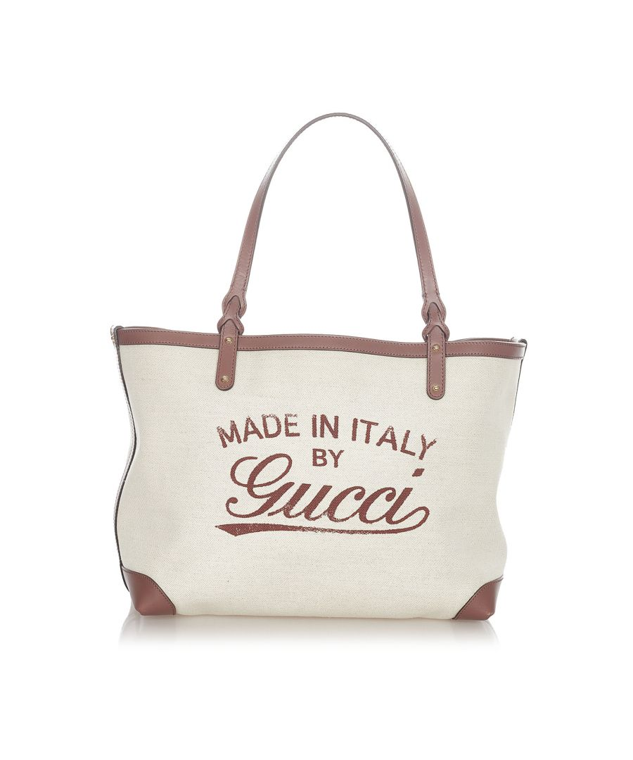 Image for Vintage Gucci Craft Canvas Tote Bag White