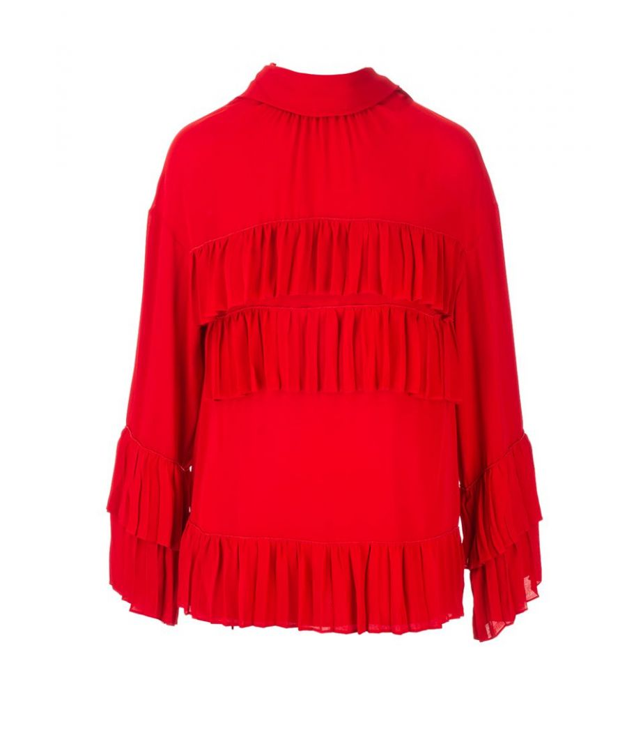 Image for VALENTINO WOMEN'S SB3AE3Y01MH157 RED SILK BLOUSE