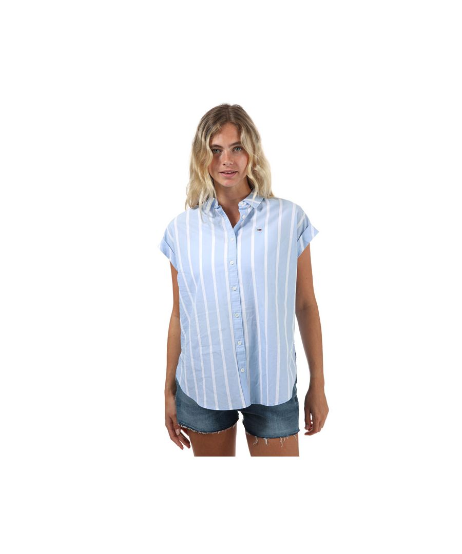 Image for Women's Tommy Hilfiger Mixed Stripe Relaxed Fit Shirt in Blue