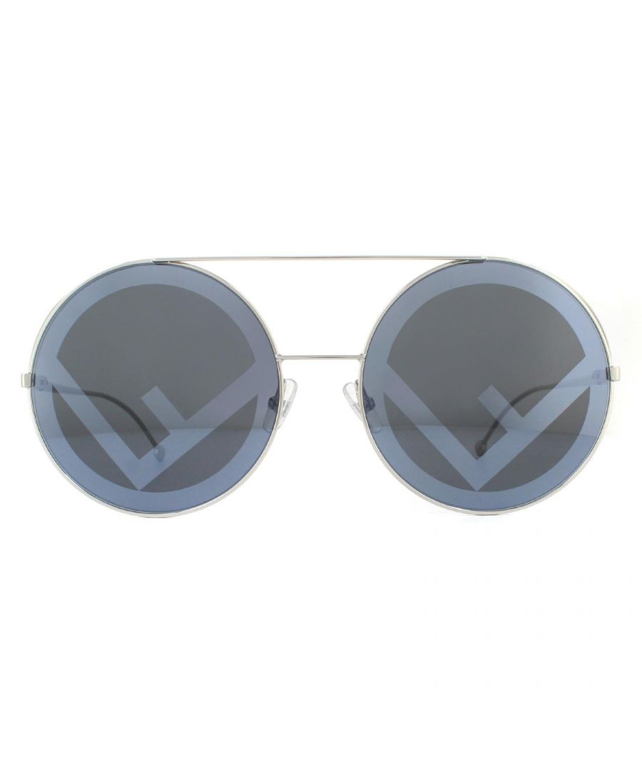 Image for Fendi Sunglasses FF 0285/S 010 MD Palladium Blue Grey Fendi Logo